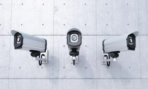 video cameras on a wall